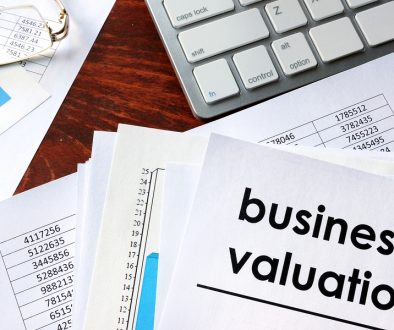 Business valuation written in a document business charts.
